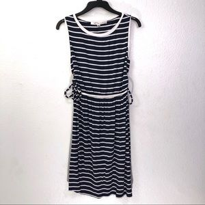 Max Studio Striped Side Tie Nautical Jersey Dress